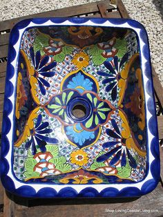 Handcrafted Painted Mexican Folk Art Sink for Great Bathroom Interiors - product image