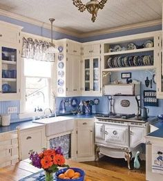 Blue and white shabby chic kitchen...perfection!