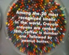 Among the 20 most recognized smells in the world, Crayola crayons are ranked 18th. Coffee is number one, followed by peanut butter.