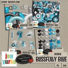Blissfully Blue is the second kit in a series of color collabs from Jen Yurko & Valarie Ostrom. Great kit for scrapping photos of the special boys/men in your life. Available as a complete bundle & individual packs.  Bundle includes Elements, Papers, Brushy Clusters and Styles. Available at Scrap Take Out and Scraps-n-Pieces