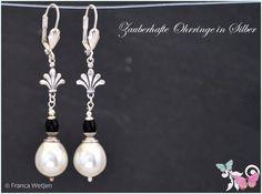 Ohrhänger - Vintage Ohrhänger Perle silber weiß schwarz lang - ein Designerstück von Zauberhafte-Ohrringe-in-Silber bei DaWanda