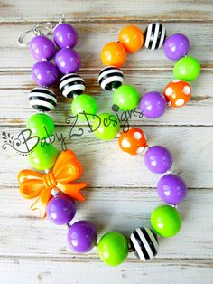 Halloween Bow Chunky Necklace and Bracelet Set  by babyzdesigns, $22.99