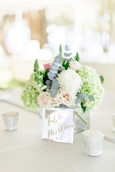 romantic blush & white centerpiece