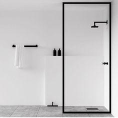Scandinavian bathroom, minimalist bathroom, white and black bathroom Minimalist Bathroom Design, Minimalist Interior, Minimalist Decor, Bathroom Interior Design, Minimal Bathroom, Bathroom Black, Modern White Bathroom, Peach Bathroom, Modern Shower