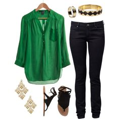 cute green tunic and black skinny jeans