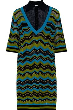 M MISSONI Wool Gauze-Paneled Striped Stretch-Knit Dress. #mmissoni #cloth #dress