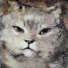 """""""Le chat est à nos côtés le souvenir chaud, poilu, moustachu et ronronnant d'un paradis perdu"""" Léonor fini. Le couronnement de la bienheureuse Féline. Huile sur toile. 1975. """"L'animal est toujours couronné en puissance par moi. Ce chat ressemble à Salomé,..."""