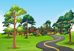 Road Trip by interactimages Scenery of a road with green environment on the sides