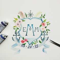 Custom watercolor crest design, Lemontree Calligraphy and Illustration