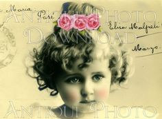 antique PoRTRaiT little girl child children digital download sheet collage altered art greeting cards scrapbooking paper craft supplies