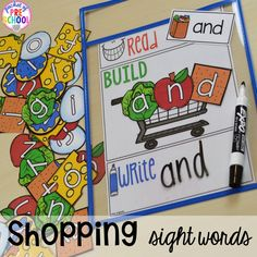 Shopping for sight words game! Plus tons more Food and nutrition centers for preschool, pre-k, and kindergarten. Reading, writing, math, fine motor, STEM, and art.