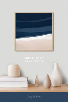 Minimal Beach Abstract 2 is a square format mixed media artwork in layered indigo, blue, sand and tan neutral colors for modern and scandinavian style interiors. #painting #abstract #landscape #seaside #seascape #ocean It is the second of two paintings that belong together but also work beautifully singly.