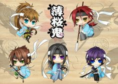 Hakuouki Shinsengumi Kitan- Just some adorably cute chibi version of them (Heisuke, Sano,Souji,Toshi,Saitou)