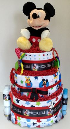 Mickey Mouse 3 Tier Diaper Cake makes a great unique gift by DoodleBugsQuilts