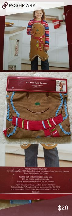 Kids Gingerbread Man Apron New New Gingerbread Man Apron for kids St. Nicholas Square Accessories
