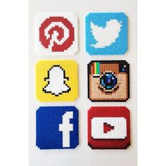 Social Networks coaster set perler beads by perler_art Perler Bead Designs, Hama Beads Design, Diy Perler Beads, Perler Bead Art, Pearler Beads, Pixel Beads, Fuse Beads, Pearler Bead Patterns, Perler Patterns