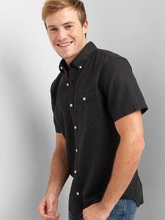 Gap Mens Linen-Cotton Short Sleeve Standard Fit Shirt Black