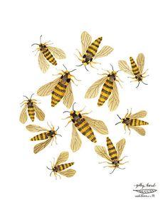 (via Hornet Moths bees giclee art print reproduction by GollyBard)