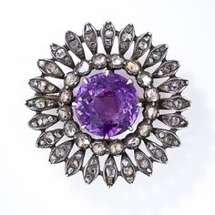 Victorian Amethyst and Diamond Flower Pin - 50-1-640 - Lang Antiques