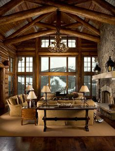 Custom Design (Bozeman) - traditional - living room - other metro - Rocky Mountain Log Homes