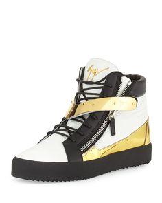 Men's Tricolor Leather High-Top Sneaker, White/Black, Size: 46EU/13US - Giuseppe Zanotti