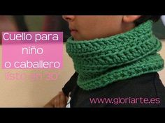 11733d8e273d8 Cuello verde de ganchillo para caballero o niño. Crocheted neck or scarf  for men or boys.
