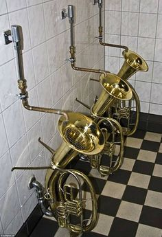 The world's craziest loo designs- The world's craziest loo designs Blowing your own trumpet: The men& loos in The Bell Inn, Sussex feature trumpets which double as urinals - Cool Toilets, Toilette Design, Jazz Bar, Bathroom Humor, Garage Bathroom, Bathrooms, Decoration, Man Cave, Instrumental
