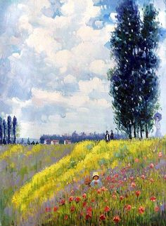 Claude Monet, Walk in the Meadows at Argenteuil - Hand Painted Oil Painting on Canvas - Canvas Art & Reproduction Oil Paintings