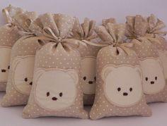 ♥ Produtos Baby Vilyn Sachês perfumados em tecido de algodão, com poás brancos…