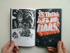 Illustrations by Jon MacNair (left) and Emilski (right) featured in No.Zine