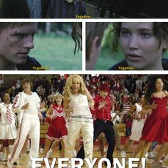 This shouldn't be funny. Harry Potter, The Hunger Games and High School Musical! hahaha this is awesome Hunger Games Humor, Hunger Games Catching Fire, Hunger Games Trilogy, High School Musical, Jenifer Lawrence, What Team, Old Disney, Disney Stuff, Film Serie