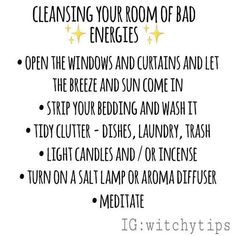 Have a bad feeling about your room? Cleanse it! Draw out all the bad energies and give it a little spiritual cleansing. Crystal clusters are also a great way to absorb negative energy! Wiccan Witch, Magick Spells, Wicca Witchcraft, Green Witchcraft, Paranormal, Paz Mental, Spiritual Cleansing, Spiritual Health, Witchcraft For Beginners