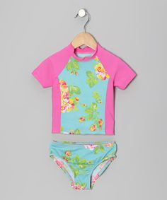Look what I found on #zulily! Aqua Orleans Rose Rashguard & Bottoms - Infant, Toddler & Girls by Mack & Co #zulilyfinds