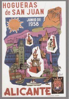 Cartel de Hogueras del año 1958 Alicante.