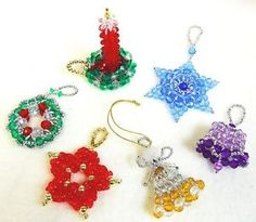 Beaded Christmas Ornament Patterns Classic Holiday Designs Set of ...