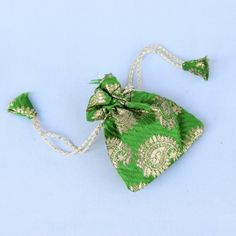 Mini Green Brocade Potli (Click To Buy | Only Rs 250)