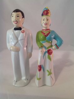 Carmen Miranda & Don Ameche Salt & Pepper Shakers.  LOL  where did they dig this up from
