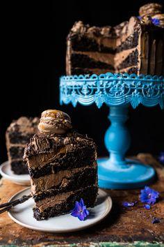 Chocolate Bourbon Caramel Macaron Cake  halfbakedharvest.com @hbharvest