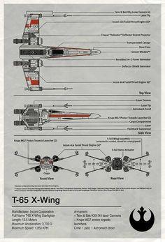 Star Wars T-65 X-Wing Diagram.