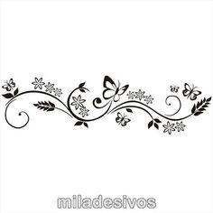 adesivo para decoração parede - ramo de flores com borboleta