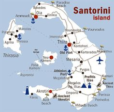 Honeymoon What to Do and See in Santorini Greece travel destinations 2019 - Greece Map, Greece Islands, Greece Travel, Map Of Greek Islands, Santorini Map, Santorini Island, Mykonos Greece, Crete Greece, Santorini Greece Beaches