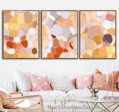 Colorful Abstract Painting Downloadable Art Set of 3 Prints   Etsy Pink Abstract, Abstract Wall Art, Wall Art Sets, Wall Art Decor, Modern Wall, Modern Contemporary, Grey Wall Art, Small Shops, Kids Decor