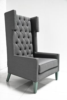 The Tangier wing chair in charcoal tweed by ModShop