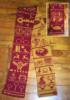 Free Knitting Pattern for Harry Potter Double Knit Scarf - Charted scarf pattern. Free Knitting Pattern for Harry Potter Double Knit Scarf - Charted scarf pattern with symbols for the Hogwarts crest, sorting hat, Harry, Hedwig, Deat. Double Knitting Patterns, Knitting Charts, Loom Knitting, Knitting Socks, Knit Patterns, Free Knitting, Fair Isle Knitting Patterns, Vogue Knitting, Knit Hats