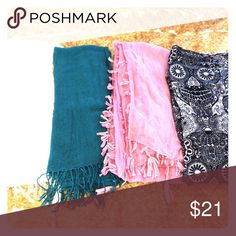 Bundle of 4 Lightweight Scarves Pink, White, Teal Bundle of 4 Lightweight Scarves Pink, White, Teal and black and white. Black and white has a skull pattern and is infinity style. White has gold thread interwoven. Lightly worn and in wearable condition. Asos Accessories Scarves & Wraps
