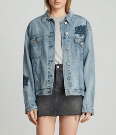 """The Rose Oversized Jacket features tonal rose embroidery all over the jacket in a washed out indigo for a vintage feel. Oversized for a looser fit.  + Model is 5'8"""" / 173cm, size M"""