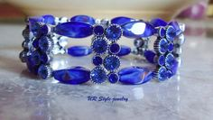 SOLD 8 2 13 Aqua Crystal Silver Plated Dark Blue Rectangular by URStyleJewelry, $20.00
