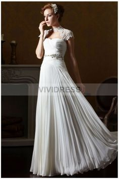 2015 New Arrival Whtie/Ivory Long Vintage Wedding Dresses with High Neck,A-line,Chiffon Fabric,Floor-length