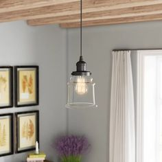 Chic Greeley Single Bell Pendant by Laurel Foundry Modern Farmhouse Lighting Home Decor Furniture from top store Sloped Ceiling, Ceiling Lights, Modern Farmhouse Lighting, Reclaimed Wood Floating Shelves, Home Decor Furniture, Kitchen Lighting, Glass Shades, 5 D, Clear Glass