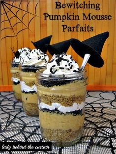 The perfect dessert to serve at an adult HALLOWEEN PARTY with just the right amount of fun!  These bewitching pumpkin mousse parfaits start with a layer of